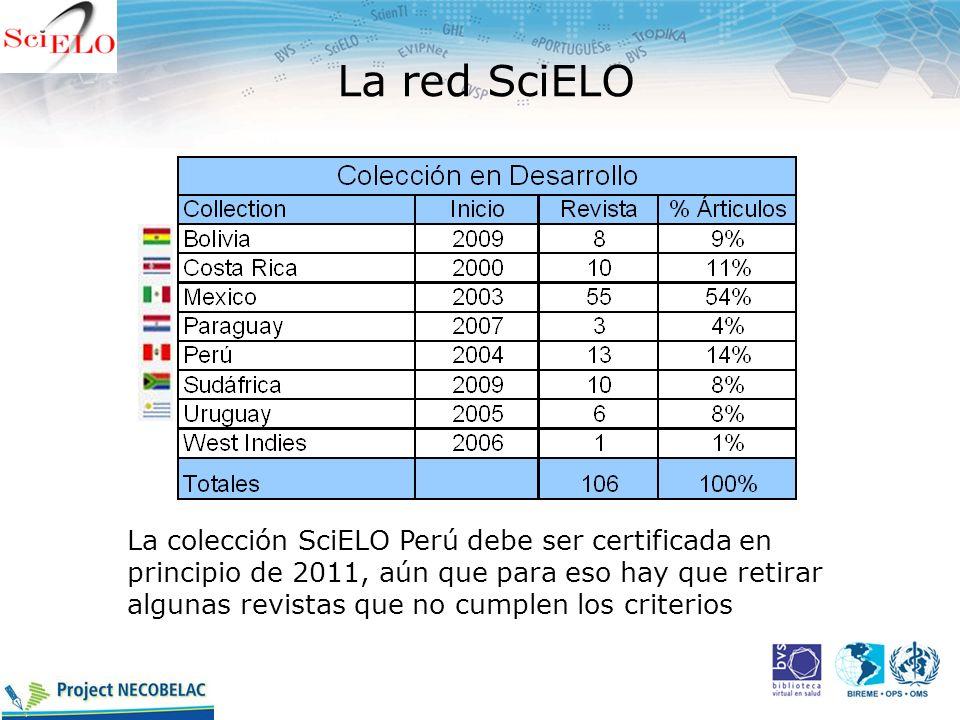 La red SciELO La colección SciELO Perú debe ser certificada en principio de 2011, aún que para eso hay que retirar algunas revistas que no cumplen los