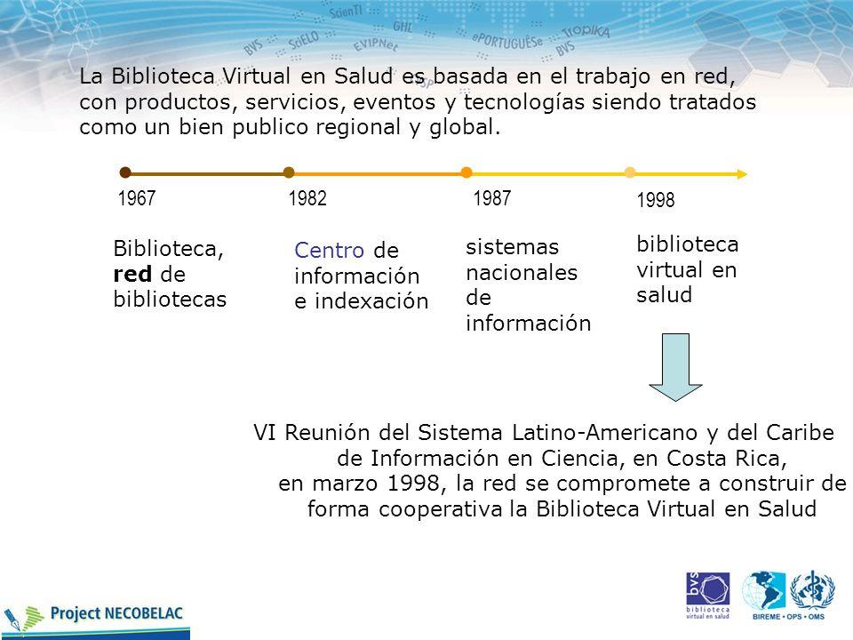 La Biblioteca Virtual en Salud es basada en el trabajo en red, con productos, servicios, eventos y tecnologías siendo tratados como un bien publico re