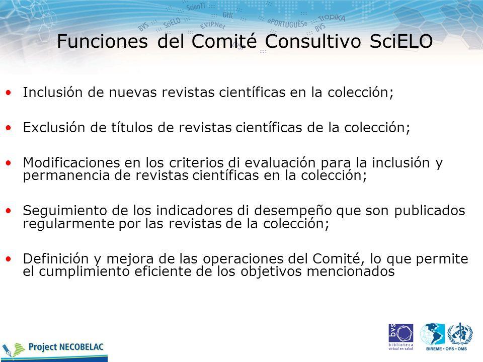 Funciones del Comité Consultivo SciELO Inclusión de nuevas revistas científicas en la colección; Exclusión de títulos de revistas científicas de la co