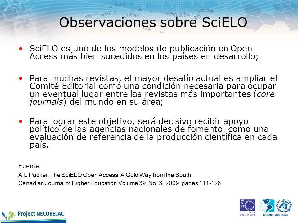 Observaciones sobre SciELO SciELO es uno de los modelos de publicación e n Open Access más bien sucedidos en los países en desarrollo; Para muchas rev
