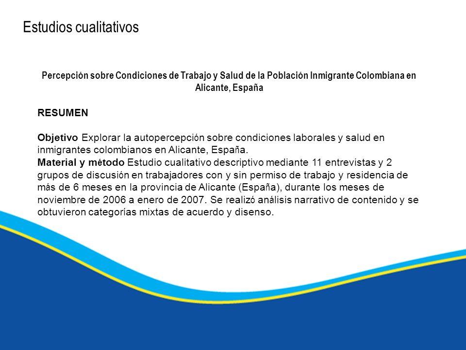 Estudios cualitativos Percepción sobre Condiciones de Trabajo y Salud de la Población Inmigrante Colombiana en Alicante, España RESUMEN Objetivo Explo
