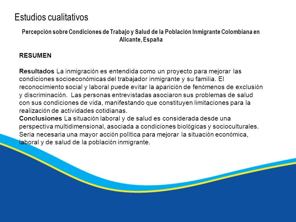 Estudios cualitativos Percepción sobre Condiciones de Trabajo y Salud de la Población Inmigrante Colombiana en Alicante, España RESUMEN Resultados La