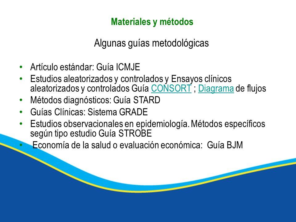 Algunas guías metodológicas Artículo estándar: Guía ICMJE Estudios aleatorizados y controlados y Ensayos clínicos aleatorizados y controlados Guía CON