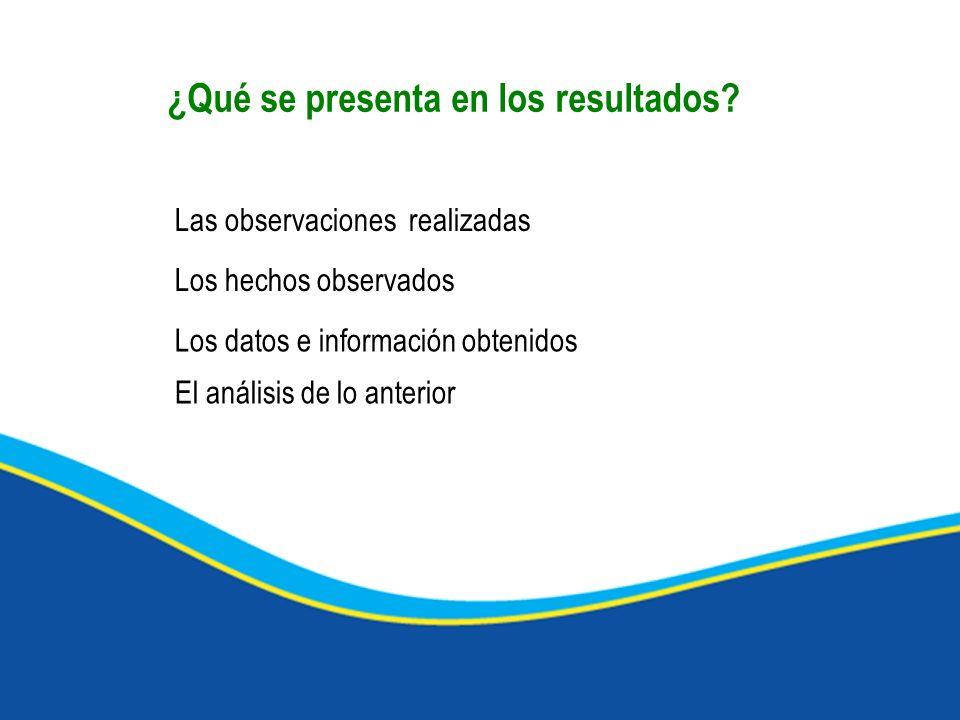 ¿Qué se presenta en los resultados? Los datos e información obtenidos Las observaciones realizadas Los hechos observados El análisis de lo anterior
