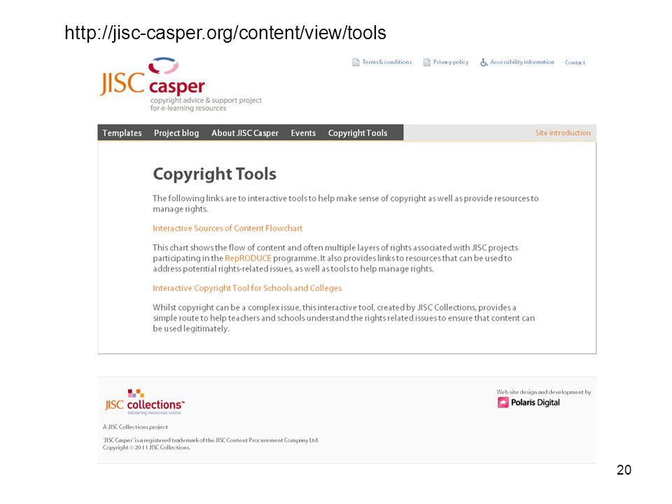 20 http://jisc-casper.org/content/view/tools