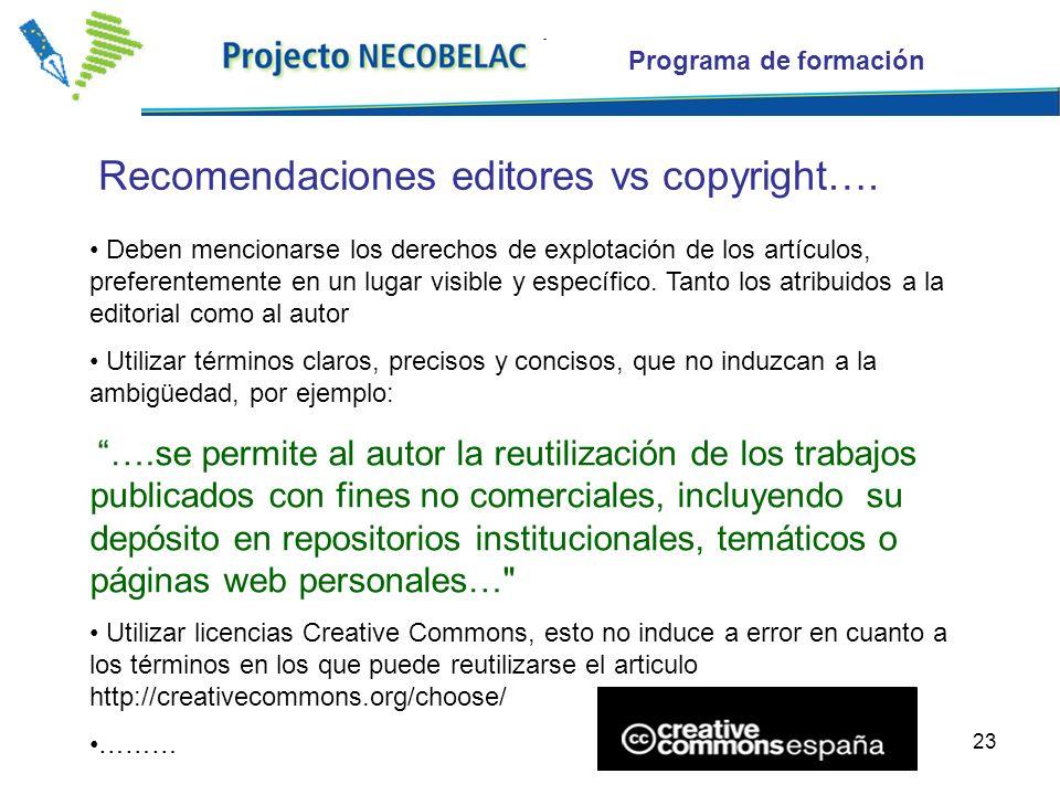 23 Recomendaciones editores vs copyright….