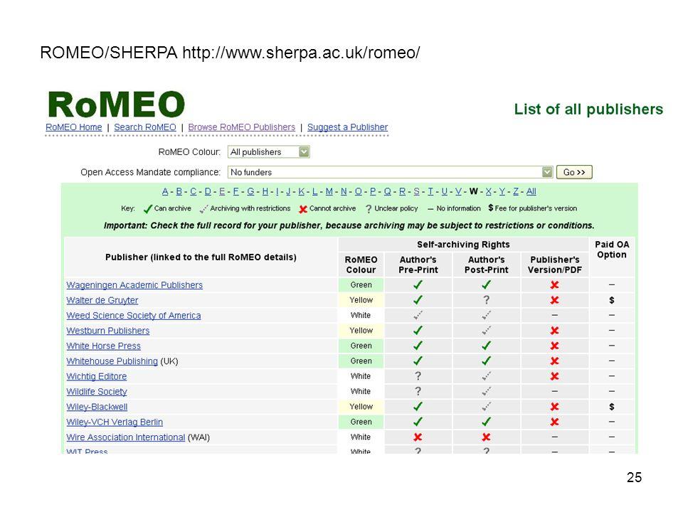 25 ROMEO/SHERPA http://www.sherpa.ac.uk/romeo/