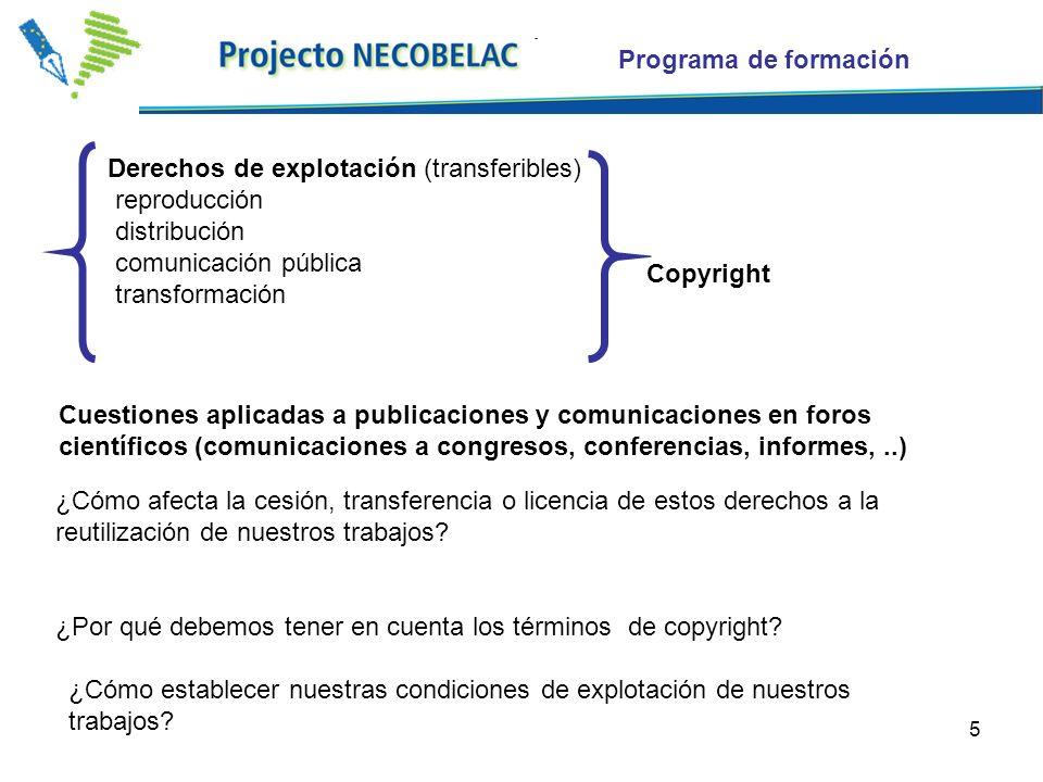 5 Derechos de explotación (transferibles) reproducción distribución comunicación pública transformación ¿Cómo afecta la cesión, transferencia o licencia de estos derechos a la reutilización de nuestros trabajos.