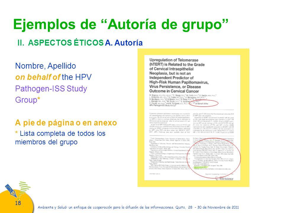 18 Ambiente y Salud: un enfoque de ccoperación para la difusión de las informaciones. Quito, 28 - 30 de Noviembre de 2011 Ejemplos de Autoría de grupo