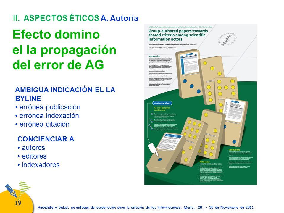 19 Ambiente y Salud: un enfoque de ccoperación para la difusión de las informaciones. Quito, 28 - 30 de Noviembre de 2011 Efecto domino el la propagac