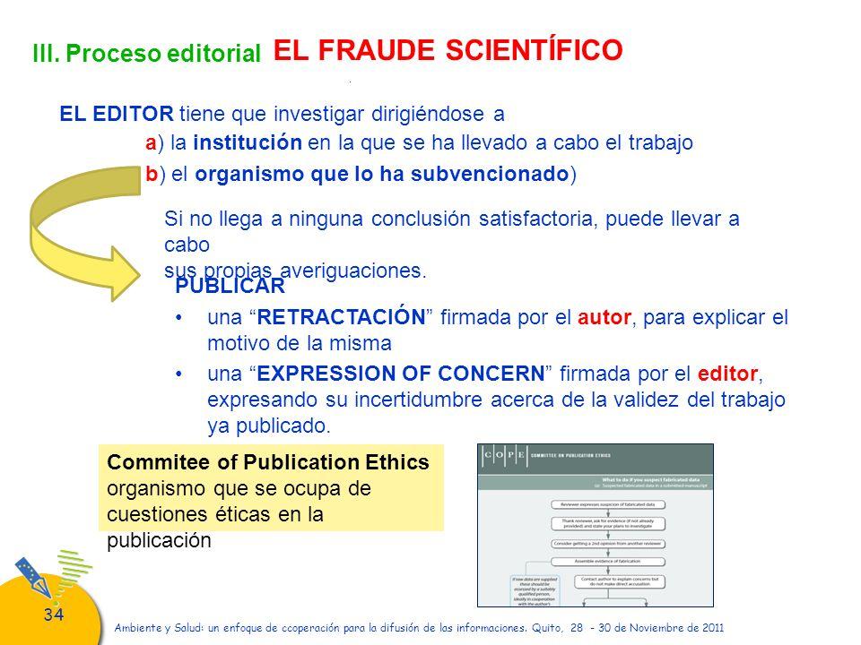 34 Ambiente y Salud: un enfoque de ccoperación para la difusión de las informaciones. Quito, 28 - 30 de Noviembre de 2011 III. Proceso editorial EL FR