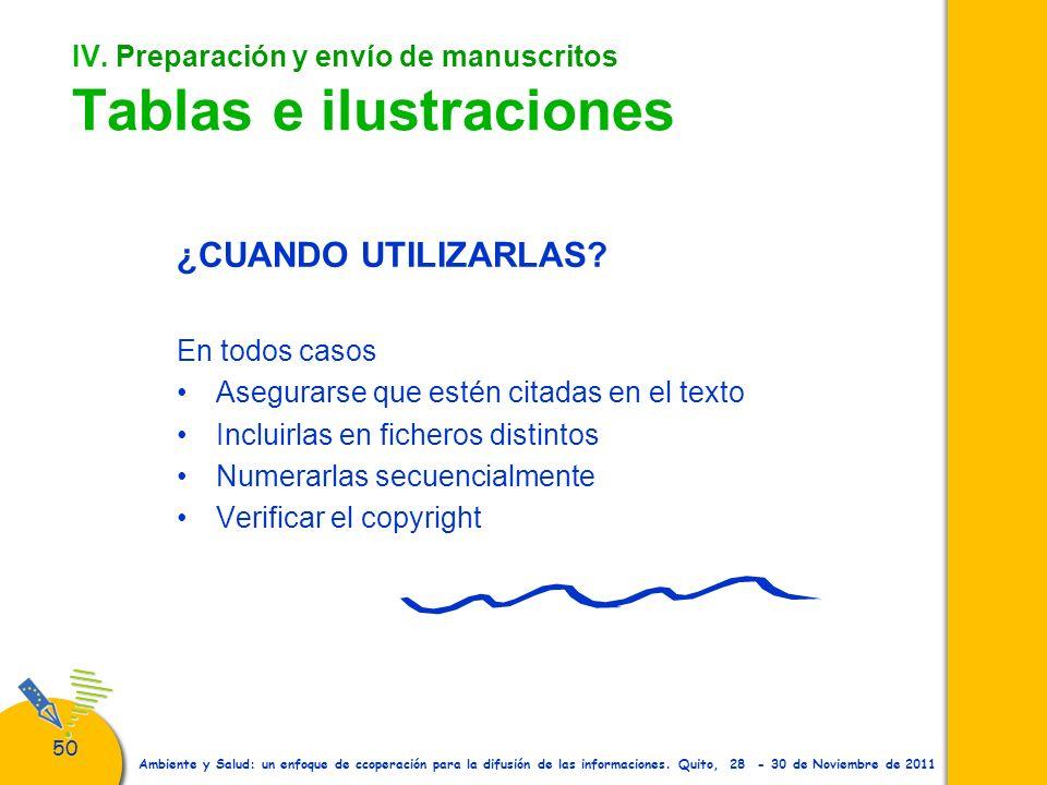 50 Ambiente y Salud: un enfoque de ccoperación para la difusión de las informaciones. Quito, 28 - 30 de Noviembre de 2011 IV. Preparación y envío de m