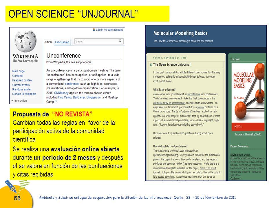 55 Ambiente y Salud: un enfoque de ccoperación para la difusión de las informaciones. Quito, 28 - 30 de Noviembre de 2011 Propuesta de NO REVISTA Camb