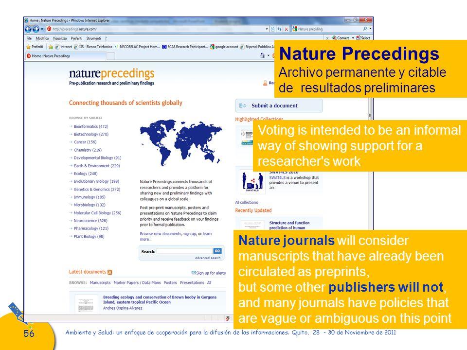 56 Ambiente y Salud: un enfoque de ccoperación para la difusión de las informaciones. Quito, 28 - 30 de Noviembre de 2011 Nature Precedings Archivo pe
