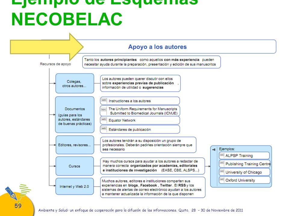 59 Ejemplo de Esquemas NECOBELAC Ambiente y Salud: un enfoque de ccoperación para la difusión de las informaciones. Quito, 28 - 30 de Noviembre de 201