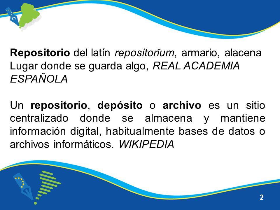 2 Repositorio del latín repositorĭum, armario, alacena Lugar donde se guarda algo, REAL ACADEMIA ESPAÑOLA Un repositorio, depósito o archivo es un sitio centralizado donde se almacena y mantiene información digital, habitualmente bases de datos o archivos informáticos.