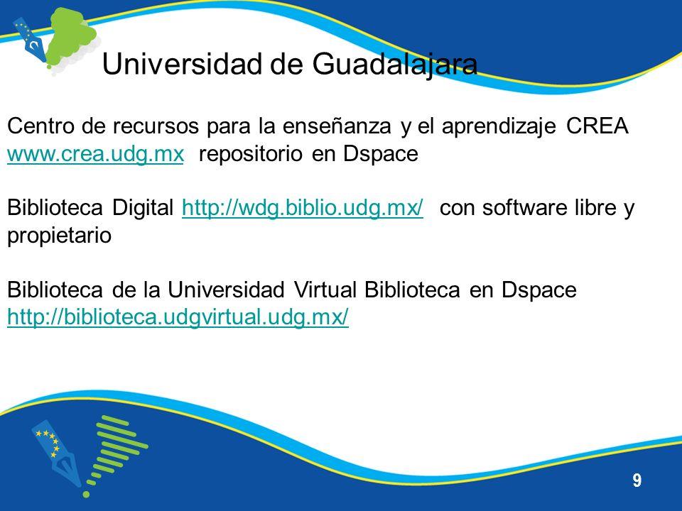 9 Universidad de Guadalajara Centro de recursos para la enseñanza y el aprendizaje CREA www.crea.udg.mxwww.crea.udg.mx repositorio en Dspace Biblioteca Digital http://wdg.biblio.udg.mx/ con software libre y propietariohttp://wdg.biblio.udg.mx/ Biblioteca de la Universidad Virtual Biblioteca en Dspace http://biblioteca.udgvirtual.udg.mx/ http://biblioteca.udgvirtual.udg.mx/