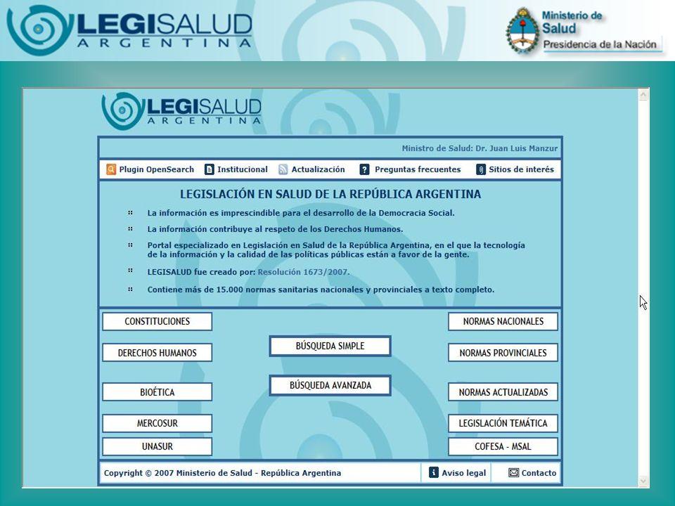Observatorio Federal de la Legislación Sanitaria Argentina Observatorio Regional (Francia, 1974): Su objetivo fue proveer información relevante para ayudar en el proceso de toma de decisiones en el área de salud pública y políticas sociales.