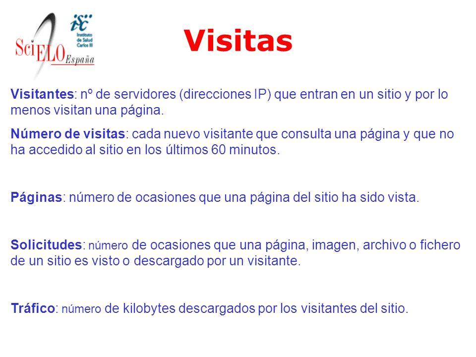 Visitas Visitantes: nº de servidores (direcciones IP) que entran en un sitio y por lo menos visitan una página. Número de visitas: cada nuevo visitant