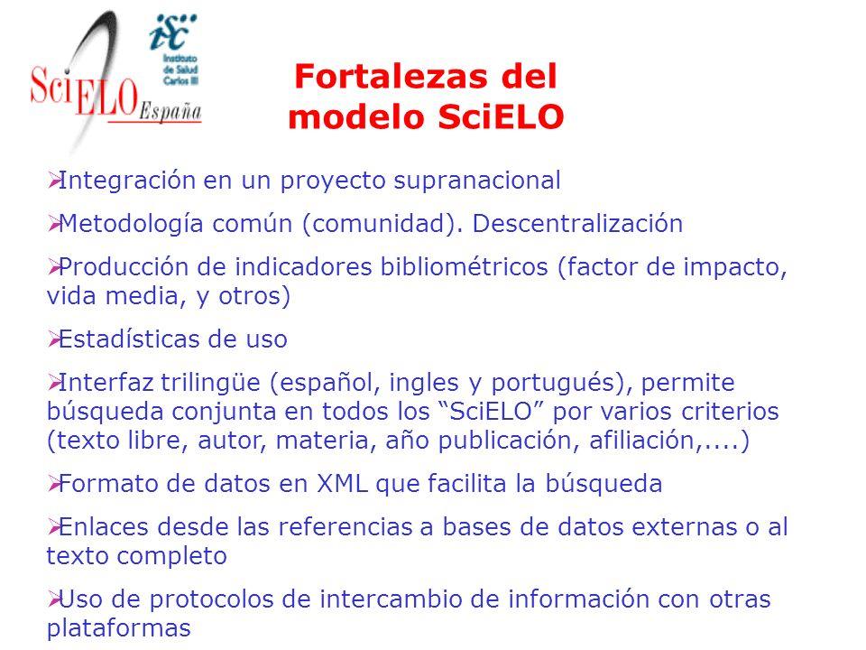 Integración en un proyecto supranacional Metodología común (comunidad). Descentralización Producción de indicadores bibliométricos (factor de impacto,