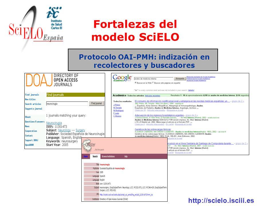 http://scielo.isciii.es Protocolo OAI-PMH: indización en recolectores y buscadores Fortalezas del modelo SciELO