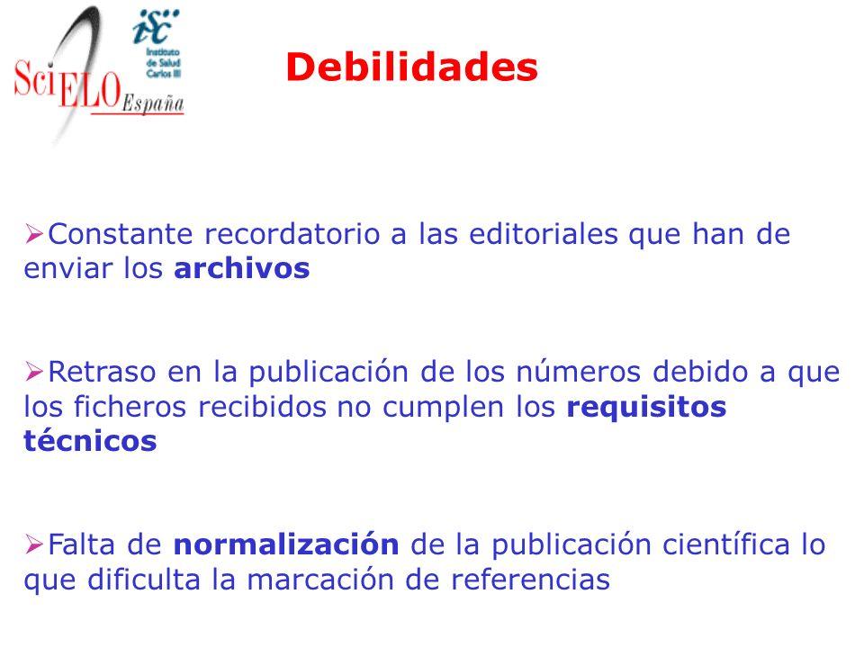Debilidades Constante recordatorio a las editoriales que han de enviar los archivos Retraso en la publicación de los números debido a que los ficheros