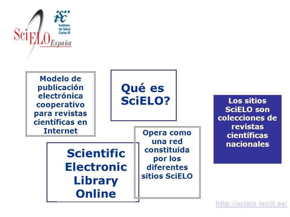 Qué es SciELO? Los sitios SciELO son colecciones de revistas científicas nacionales Scientific Electronic Library Online http://scielo.isciii.es/ Conc