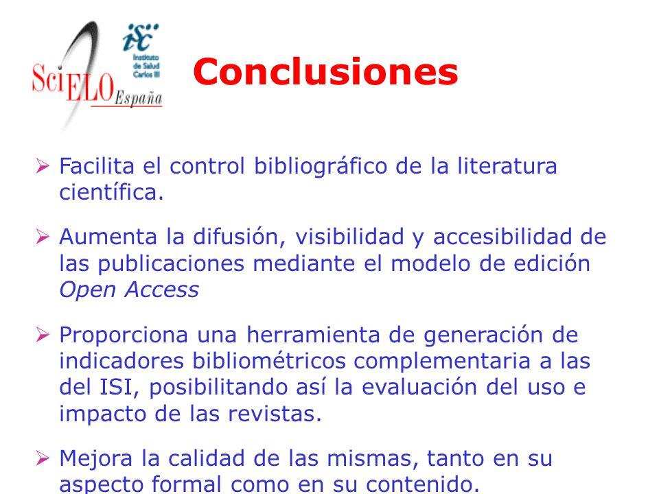 Conclusiones Facilita el control bibliográfico de la literatura científica. Aumenta la difusión, visibilidad y accesibilidad de las publicaciones medi