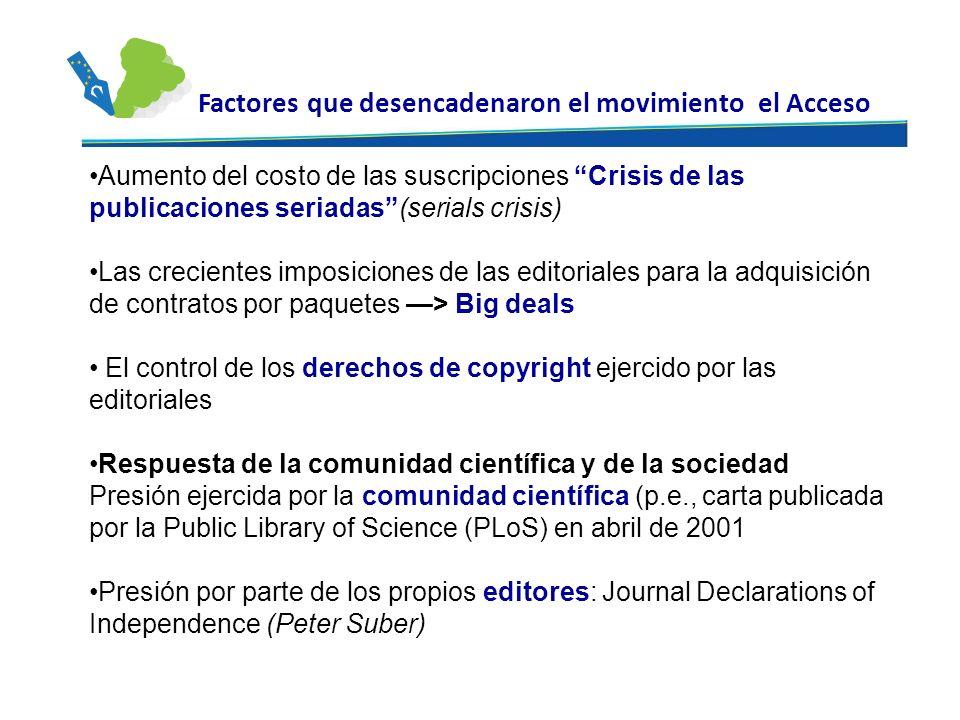Aumento del costo de las suscripciones Crisis de las publicaciones seriadas(serials crisis) Las crecientes imposiciones de las editoriales para la adq