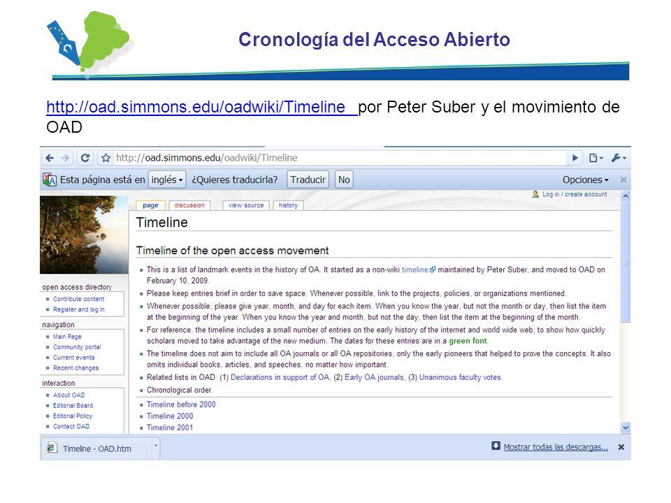 Cronología del Acceso Abierto http://oad.simmons.edu/oadwiki/Timeline http://oad.simmons.edu/oadwiki/Timeline por Peter Suber y el movimiento de OAD