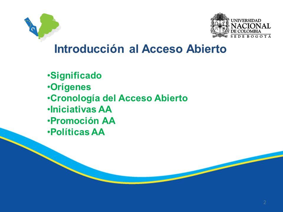 2 Significado Orígenes Cronología del Acceso Abierto Iniciativas AA Promoción AA Políticas AA Introducción al Acceso Abierto