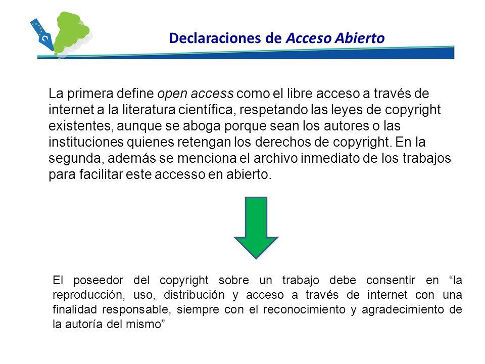 El poseedor del copyright sobre un trabajo debe consentir en la reproducción, uso, distribución y acceso a través de internet con una finalidad respon