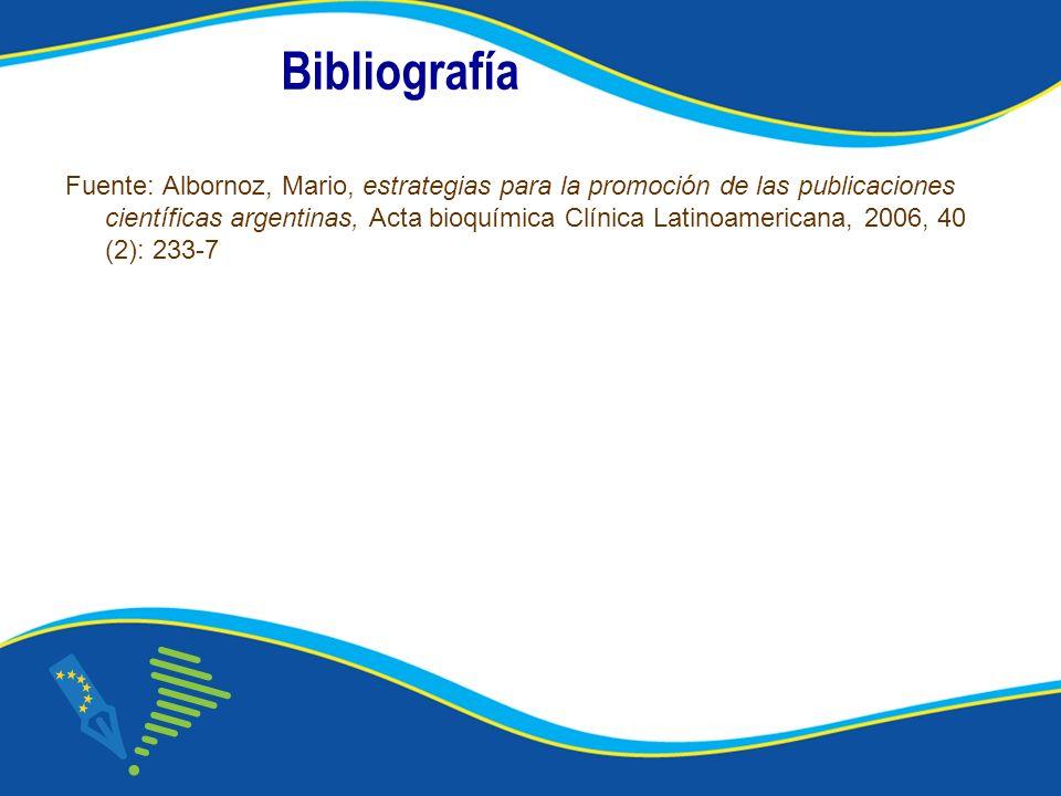Bibliografía Fuente: Albornoz, Mario, estrategias para la promoción de las publicaciones científicas argentinas, Acta bioquímica Clínica Latinoamericana, 2006, 40 (2): 233-7
