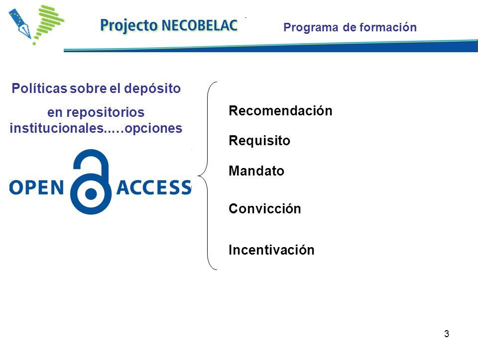 3 Recomendación Requisito Mandato Convicción Incentivación Programa de formación Políticas sobre el depósito en repositorios institucionales..…opciones