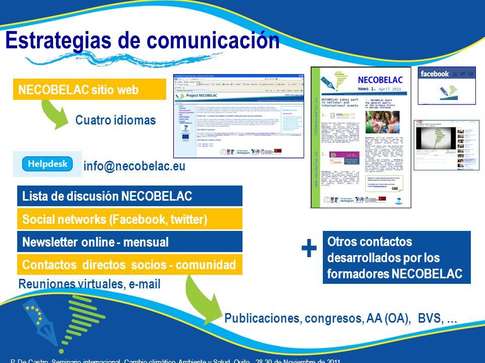 Estrategias de comunicación Cuatro idiomas NECOBELAC sitio web Lista de discusión NECOBELAC Publicaciones, congresos, AA (OA), BVS, … Contactos directos socios - comunidad Reuniones virtuales, e-mail + Otros contactos desarrollados por los formadores NECOBELAC P.