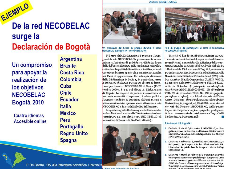 De la red NECOBELAC surge la Declaración de Bogotà P.