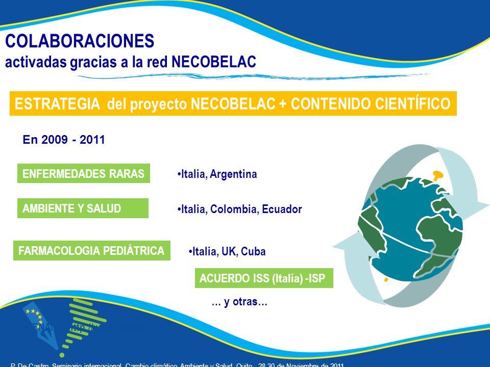 COLABORACIONES activadas gracias a la red NECOBELAC OPENAIR - http://www.openaire.eu/ Italia, Argentina ESTRATEGIA del proyecto NECOBELAC + CONTENIDO CIENTÍFICO Italia, UK, Cuba ENFERMEDADES RARAS AMBIENTE Y SALUD FARMACOLOGIA PEDIÁTRICA á P.