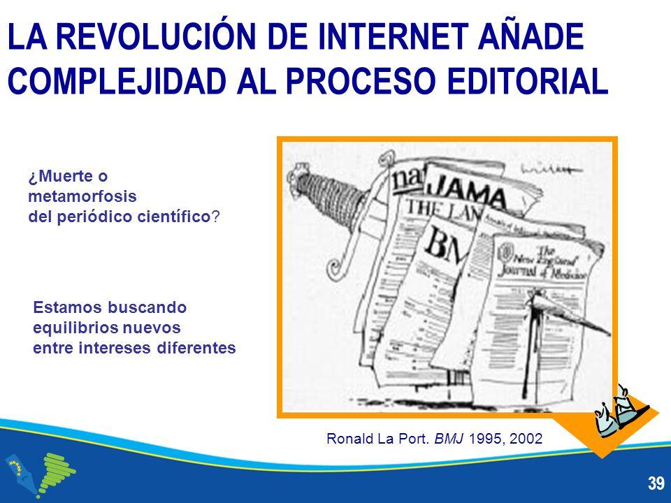 39 LA REVOLUCIÓN DE INTERNET AÑADE COMPLEJIDAD AL PROCESO EDITORIAL Ronald La Port.