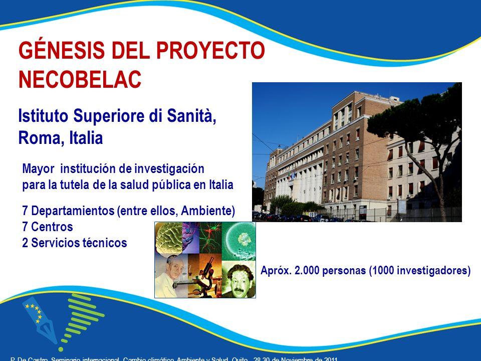 GÉNESIS DEL PROYECTO NECOBELAC Istituto Superiore di Sanità, Roma, Italia P.