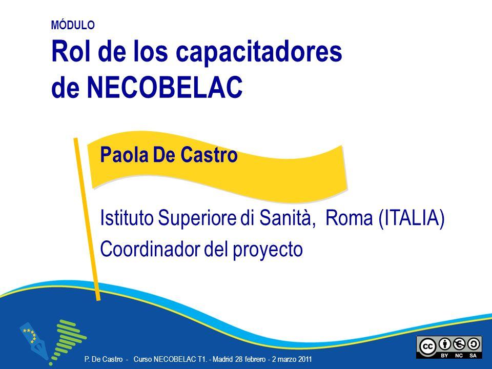 P. De Castro - Curso NECOBELAC T1. - Madrid 28 febrero - 2 marzo 2011 Corso NECOBELAC T1. - Roma 18-20 ottobre 2010 MÓDULO Rol de los capacitadores de