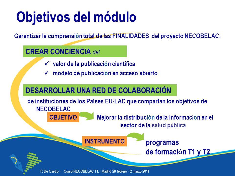 P. De Castro - Curso NECOBELAC T1. - Madrid 28 febrero - 2 marzo 2011 Corso NECOBELAC T1. - Roma 18-20 ottobre 2010 Objetivos del módulo valor de la p