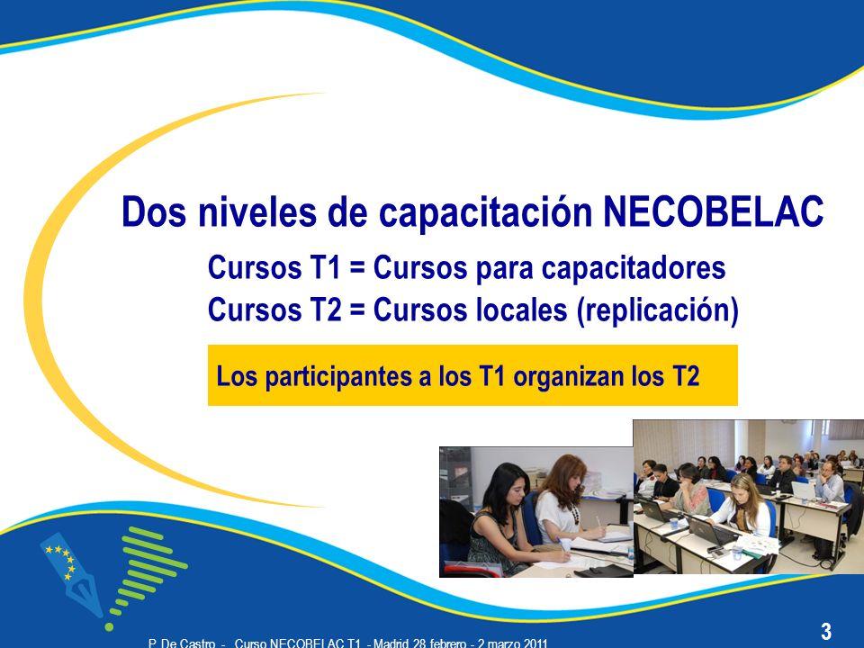 P. De Castro - Curso NECOBELAC T1. - Madrid 28 febrero - 2 marzo 2011 Dos niveles de capacitación NECOBELAC Cursos T1 = Cursos para capacitadores Curs