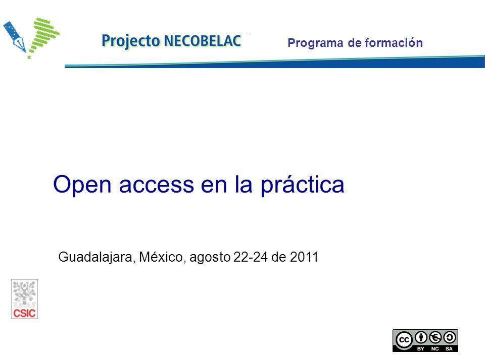 Programa de formación Guadalajara, México, agosto 22-24 de 2011 Open access en la práctica