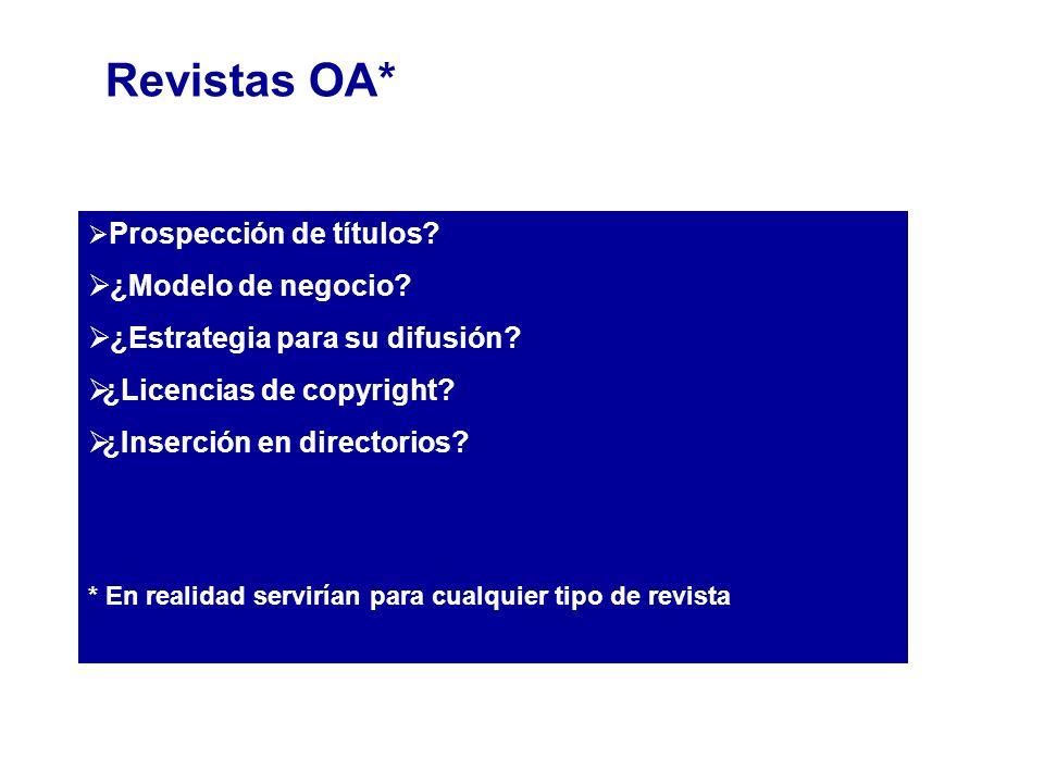 Prospección de títulos? ¿Modelo de negocio? ¿Estrategia para su difusión? ¿Licencias de copyright? ¿Inserción en directorios? * En realidad servirían