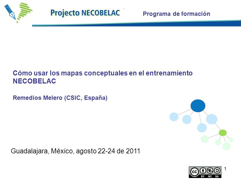 1 Cómo usar los mapas conceptuales en el entrenamiento NECOBELAC Remedios Melero (CSIC, España) Programa de formación Guadalajara, México, agosto 22-2