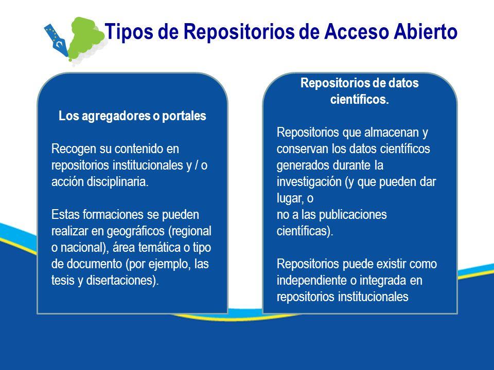 Tipos de Repositorios de Acceso Abierto Los agregadores o portales Recogen su contenido en repositorios institucionales y / o acción disciplinaria. Es