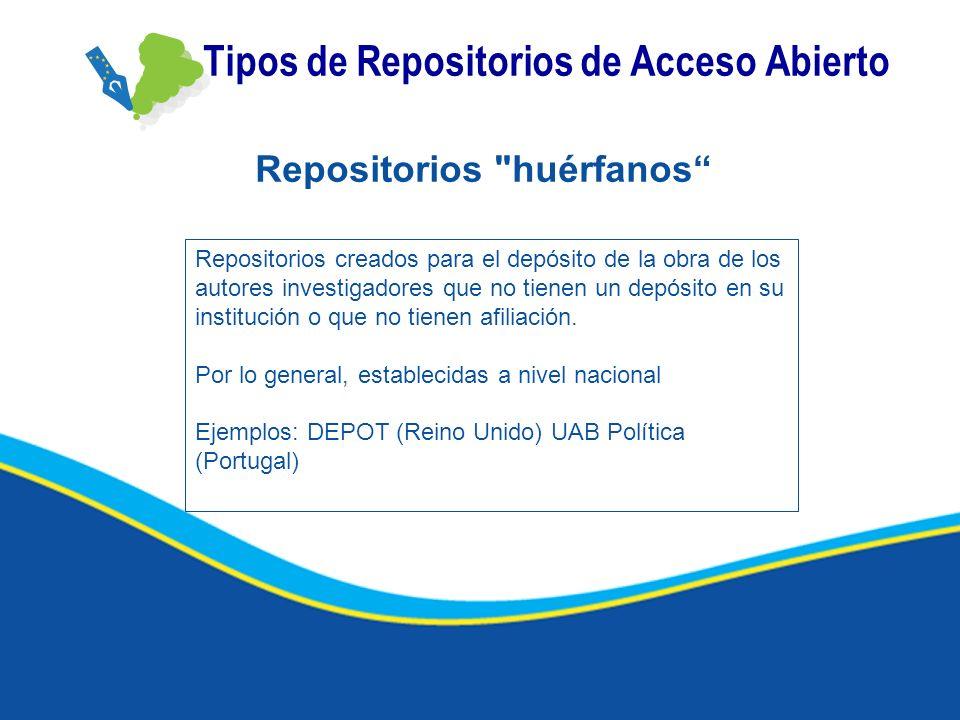 Tipos de Repositorios de Acceso Abierto Repositorios