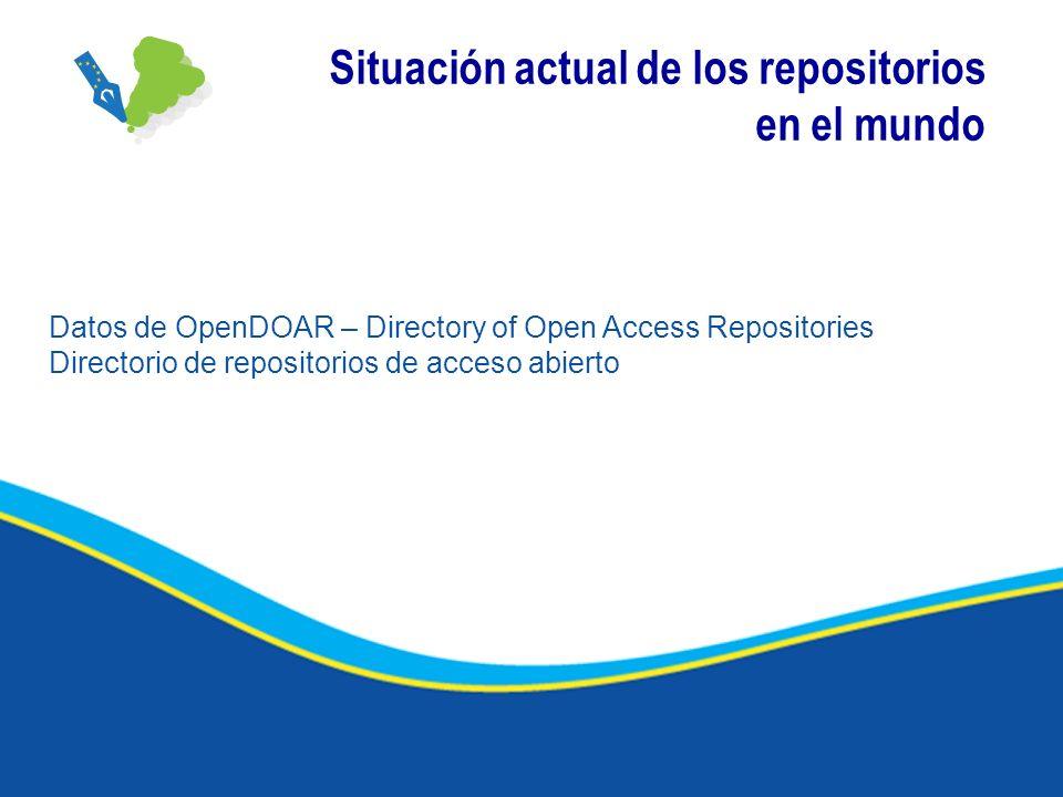 Situación actual de los repositorios en el mundo Datos de OpenDOAR – Directory of Open Access Repositories Directorio de repositorios de acceso abiert