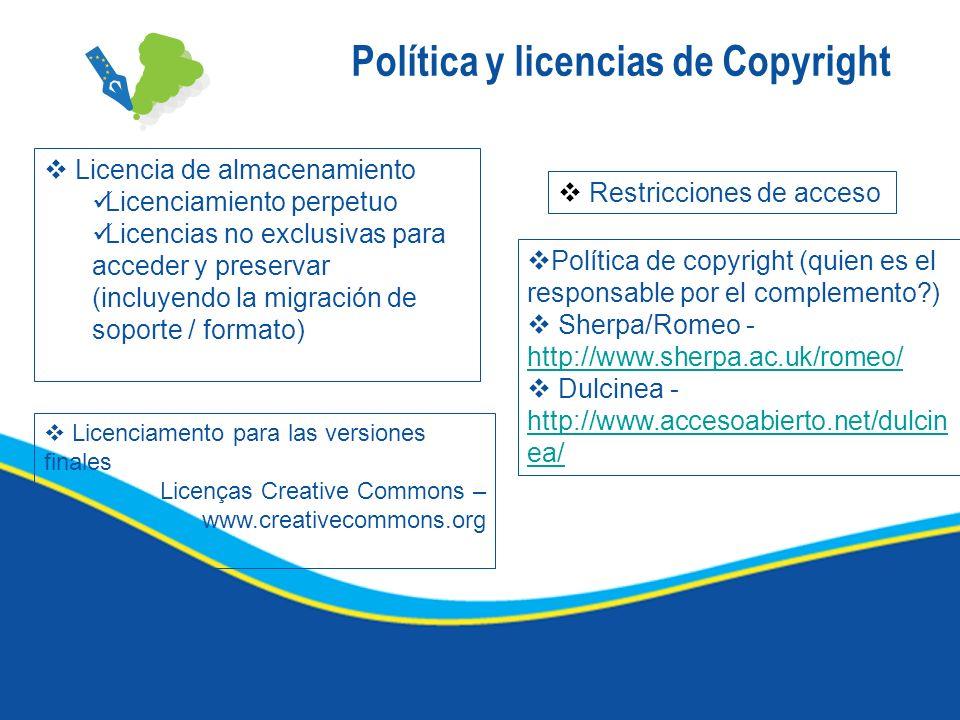 Política y licencias de Copyright Licencia de almacenamiento Licenciamiento perpetuo Licencias no exclusivas para acceder y preservar (incluyendo la m
