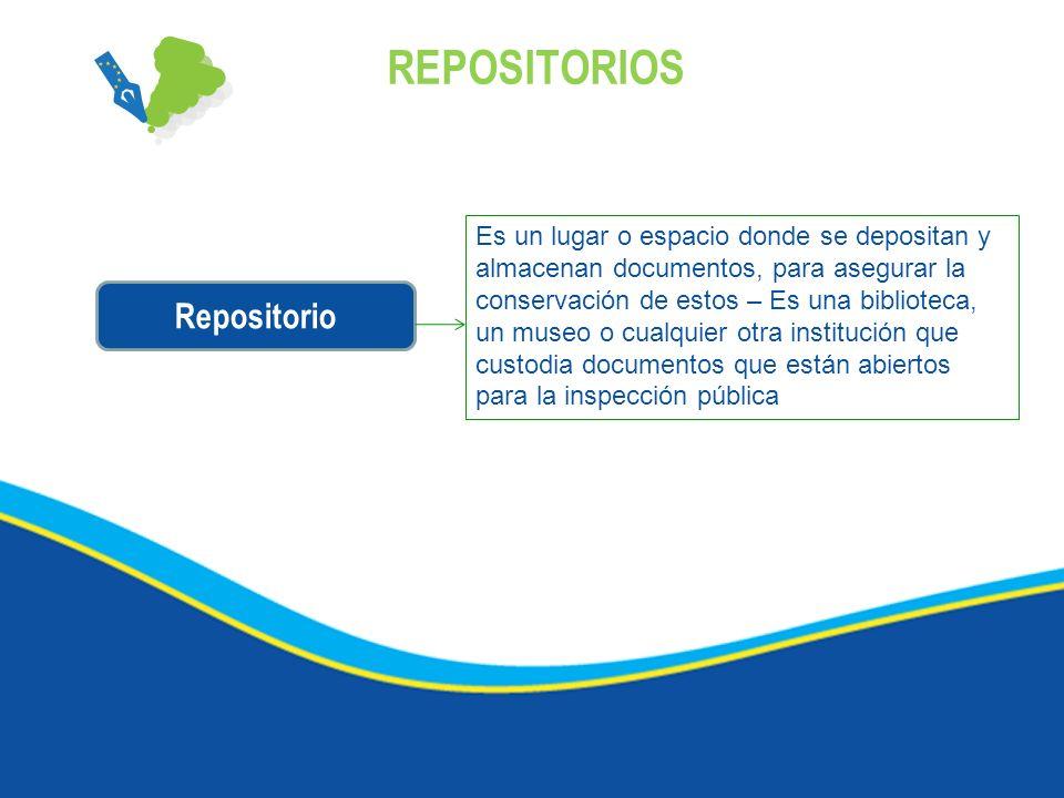 REPOSITORIOS Repositorio Es un lugar o espacio donde se depositan y almacenan documentos, para asegurar la conservación de estos – Es una biblioteca,